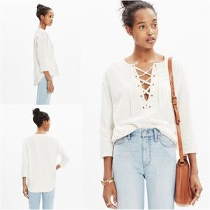 MADEWELL Ivory Libra Lace-up Long Sleeve Shirt Tee
